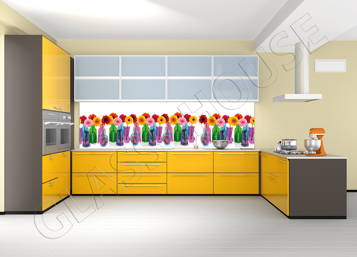szkło z nadrukiem gerbery w kolorowych wazonikach